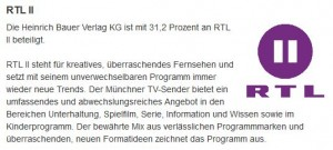 Die Bauer Media Group ist an RTL II beteiligt