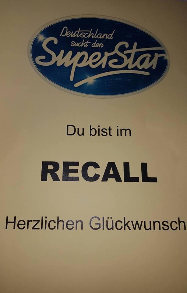 Recall Zettel DSDS 2017